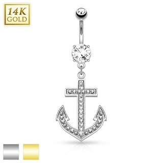 14Kt Gold Anchor Dangle with Micro Pave CZ Belly Button Navel Ring - 14GA (Sold Ind.)