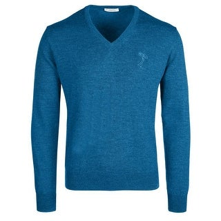 Versace Collection Teal Wool V-neck Sweater