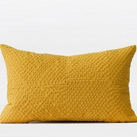 "G Home Collection Luxury Yellow Diamond Embroidered Pillow 12""X20"""
