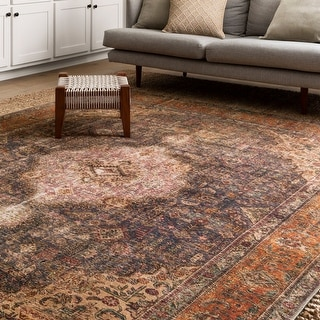 Link to Alexander Home Tremezzina Printed Distressed Medallion Boho Rug Similar Items in Rugs