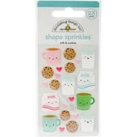 Doodlebug Sprinkles Adhesive Glossy Enamel Shapes 23/Pkg-Milk & Cookies