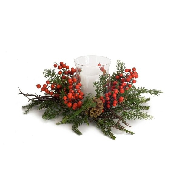 Pack of 2 Green Pine and Red Berries Christmas Candle Holder 19""