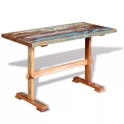 "vidaXL Pedestal Dining Table Solid Reclaimed Wood 47.2""x22.8""x30.7"" - Multi"