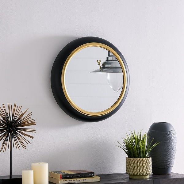 16.5 in Round Wall Mount Accent Mirror with Black Metal Frame and Gold Trim. Opens flyout.