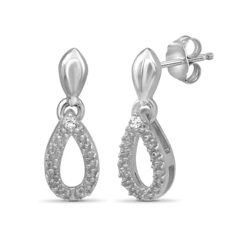 JewelonFire Accent White Diamond Tear Drop Earring in Sterling Silver