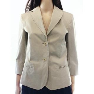 Max Mara NEW Beige Khaki Womens Size 4 Two-Button Seamed-Pocket Blazer