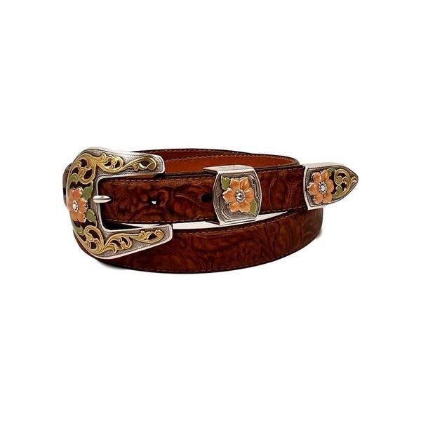Ariat Western Belt Womens 3 Piece Emboss Flower Leather Brown