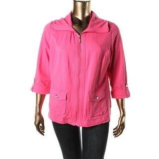 Karen Scott Womens Plus French Terry Cuff Sleeves Athletic Jacket - 0X
