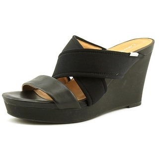 Calvin Klein Jileen Women  Open Toe Synthetic Black Wedge Heel