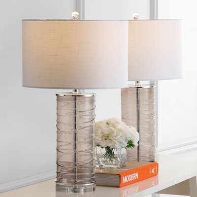 """Cole 27.5"""" Modern Fused Glass Cylinder LED Table Lamp, Smoky Gray (Set of 2) by JONATHAN Y"""