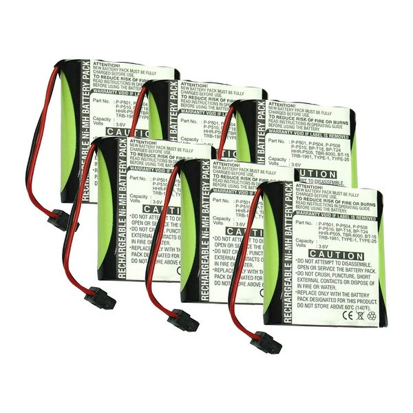 Replacement Battery For Panasonic KX-TG200C Cordless Phones - P504 (700mAh, 3.6v, NiMH) - 6 Pack