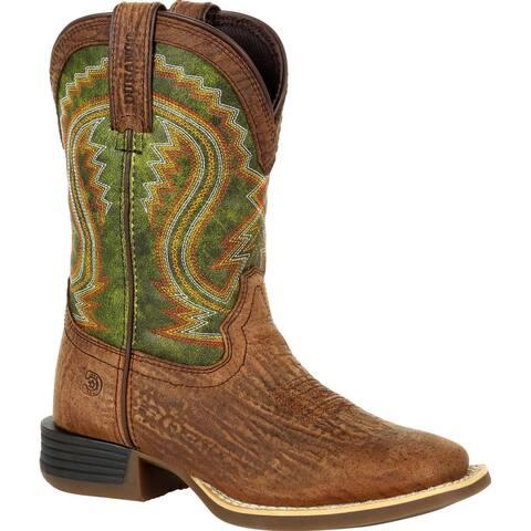 #DBT0229Y, Lil' Durango® Rebel Pro Big Kid's Briar Green Western Boot - OLD TOWN BROWN AND BRIAR GREEN