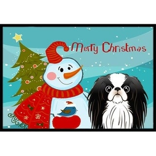 Carolines Treasures BB1850JMAT Snowman With Japanese Chin Indoor & Outdoor Mat 24 x 36 in.