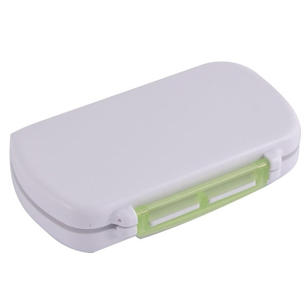 Plastic Square Design Portable Pocket Pills Coins Storage Box Case Clear Green