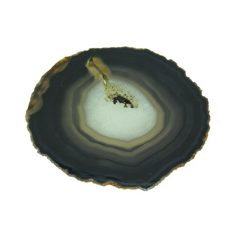 Black Polished Brazilian Agate Slice Stone Trivet