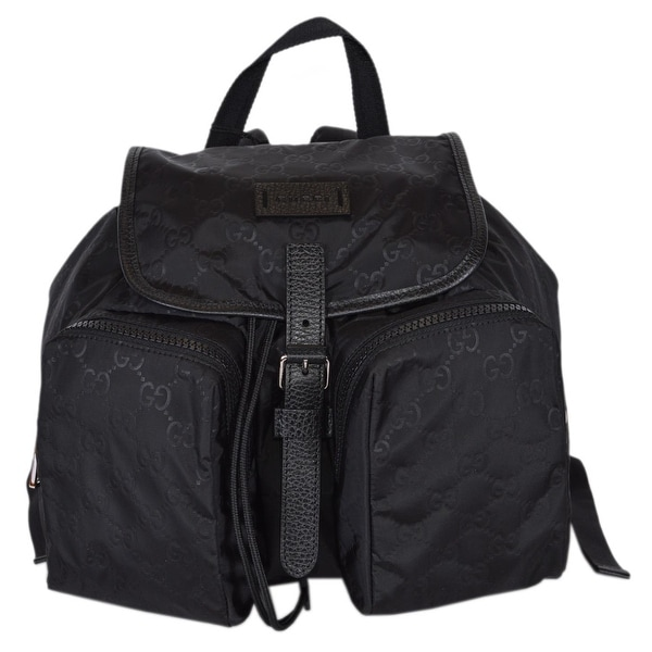 10acd80b201f Gucci 510343 Black Nylon GG Guccissima Backpack Rucksack Purse Bag - 12.5