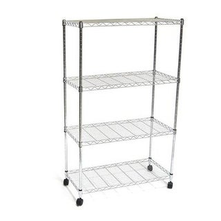 Seville Classics She14304zb 4-Tier Ultrazinc Steel Wire Shelving W/ Wheels - 14X30x48