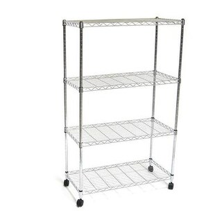 Seville Classics She14304zb Steel Shelving W/Wheels 4 Tier
