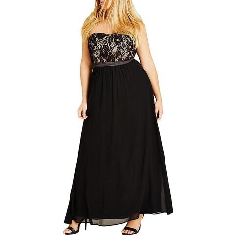 City Chic Womens Plus Maxi Dress Lace Bodice Strapless