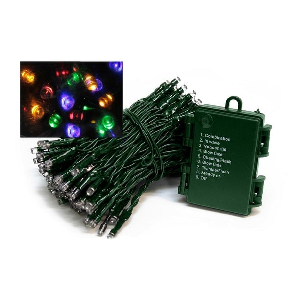Set of 1152 Battery Operated Multi-Function Multi-Color LED Wide Angle Christmas Lights - Green Wire