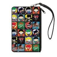 Justice League Comics 12 Chibi Character Pose Blocks Canvas Zipper Wallet