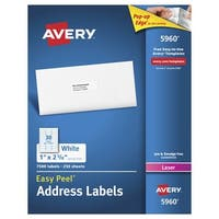 Avery Easy Peel Permanent-Adhesive Address Labels For Laser Printers, 1 x 2-5/8 in, White, Box of 7500