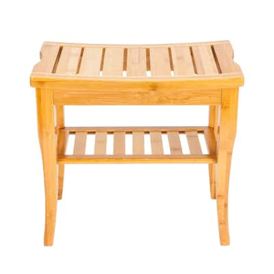 Bamboo Shower Bath Stool Wood Seat Bench for Indoor or Outdoor Use