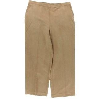 Alfred Dunner Womens Plus El Dorado Faux Suede Flat Front Straight Leg Pants