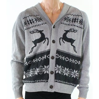 Weatherproof NEW Gray Mens Size Large L Holiday Knit Cardigan Sweater