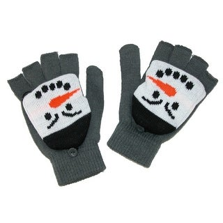 Aquarius Kids' Snowman Mittens Convertible Fingerless Gloves - Grey - One Size