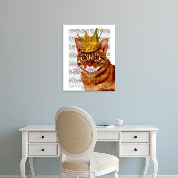 Easy Art Prints Fab Funky's 'Ginger Cat with Crown Portrai' Premium Canvas Art