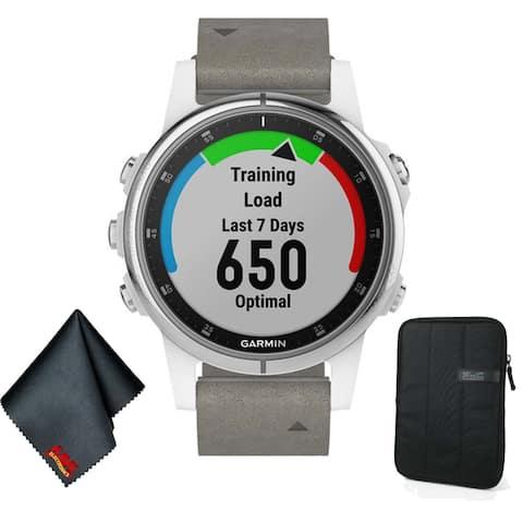 Garmin FENIX 5S Plus Sapphire Edition Multi-Sport Training GPS Watch (White w/ Gray Suede Band) Basic Accessory Bundle