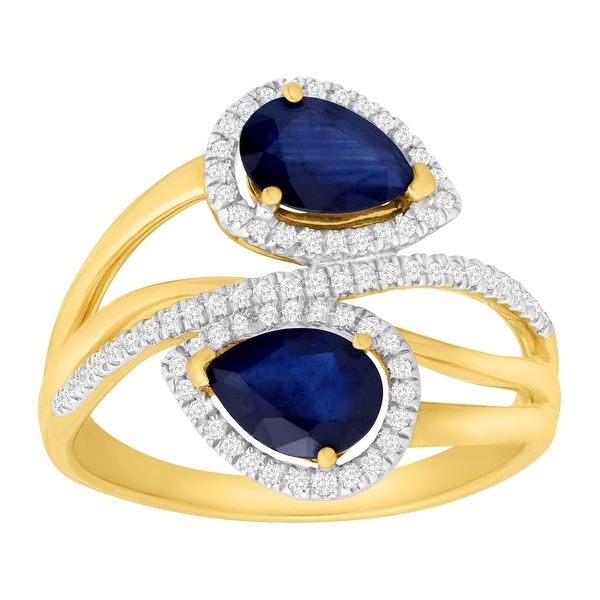 1 3/4 ct Natural Kanchanaburi Sapphire & 1/5 ct Diamond Ring in 14K Gold - Blue