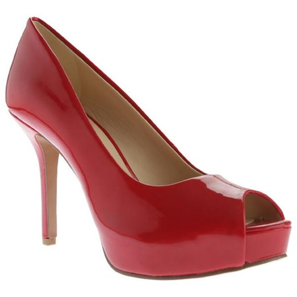 0f12b18a8c67 ... Women s Heels. Nine West Women  x27 s Qtpie 3 Peep Toe Pump Salsa Red  Lux Patent