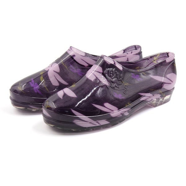 Purple US 7.5 Floral Pattern Low Heel Rain Boots Wellies Ankle Shoes for Women
