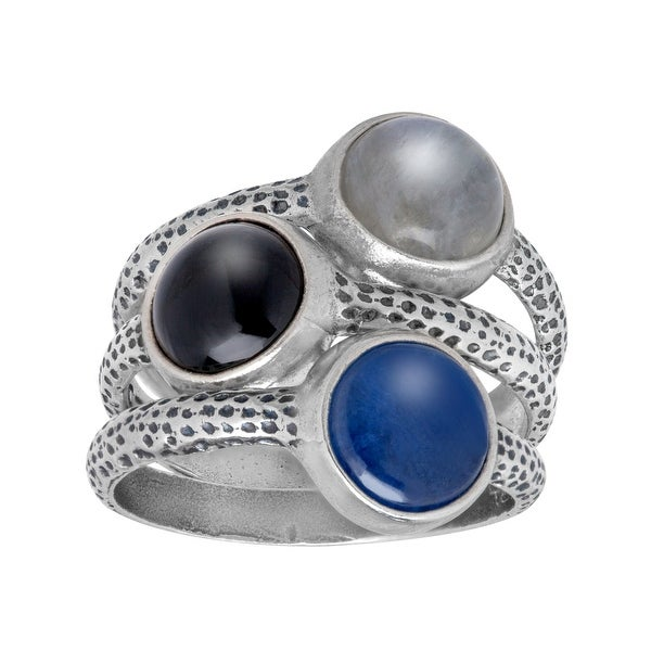 Multi-Stone Stackable Ring Set in Sterling Silver - White
