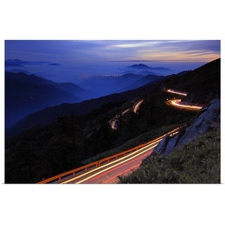 """""""Light trails on road, Taiwan."""" Poster Print"""