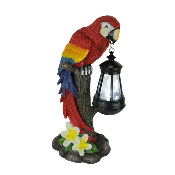 Red Tropical Parrot LED Solar Powered Outdoor Lantern Statue - 14 X 8.5 X 5.25 inches