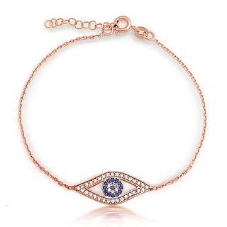Bling Jewelry Sterling Silver Rose Gold Plated Evil Eye Bracelet Cz 7in