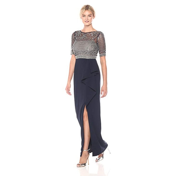 cb59222e Adrianna Papell Long Beaded Embellished Gown Cascade Ruffle Skirt,  Midnight, 4P