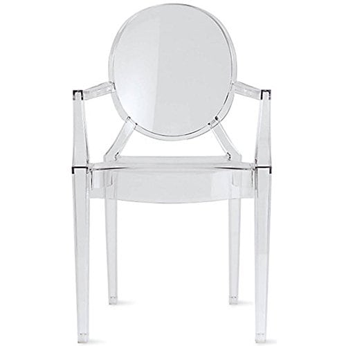 2xhome Designer Modern Style Clear Transparent Armchair For Kitchen Work Home Restaurant Outdoor UV Patio