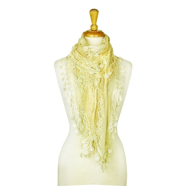 """Women's Sheer Lace Scarf With Teardrops Fringe - 66"""" / width approx. 10"""" without fringes. Opens flyout."""