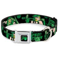 Dog Collar GAA-GREEN ARROW Logo Full Color Black Green - GREEN ARROW Action Pet Collar
