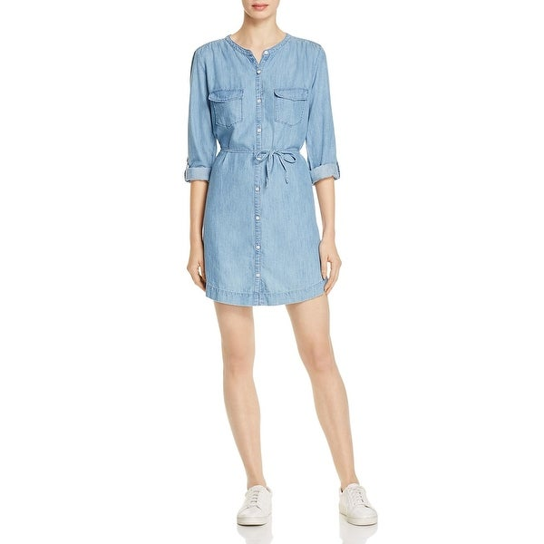 Soft Joie Womens Milli Shirtdress Chambray Adjule Sleeves S