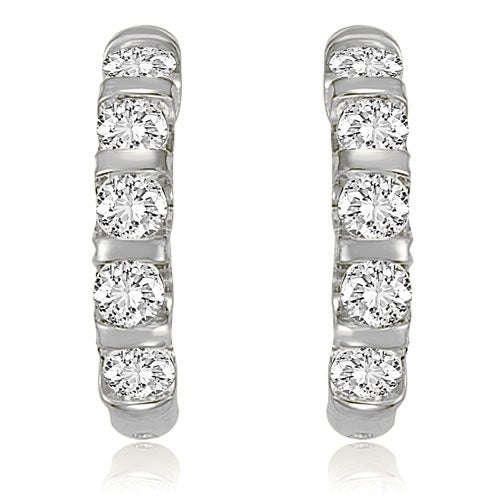 2.00 cttw. 14K White Gold Round Cut Diamond Huggies