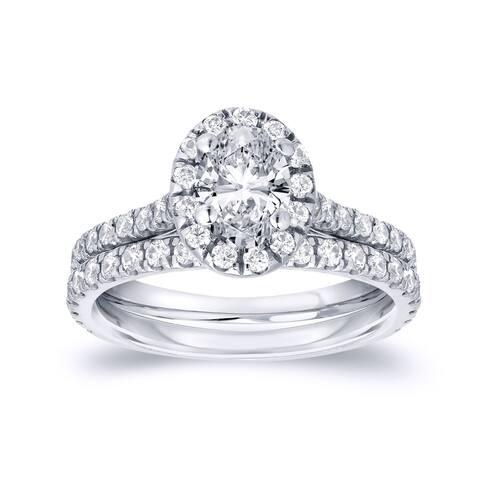 Auriya 14k Gold 1ctw Halo Oval-cut Diamond Engagement Ring Set Platinum