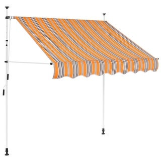 """vidaXL Manual Retractable Awning 59"""" Yellow and Blue Stripes"""