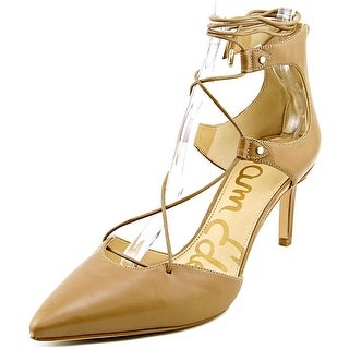 Sam Edelman Taylor Women Pointed Toe Leather Tan Heels