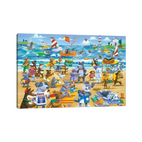 """iCanvas """"Dogs Beach"""" by Peter Adderley Canvas Print"""