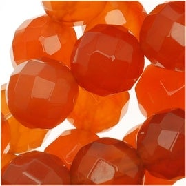 Red Carnelian Gemstone 8mm Faceted Round Beads / 15.5 Inch Strand